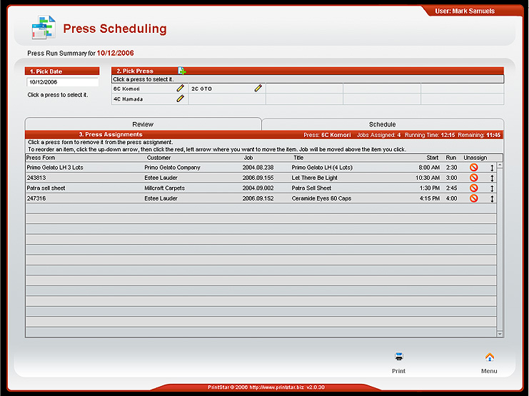 Press Scheduling screenshot